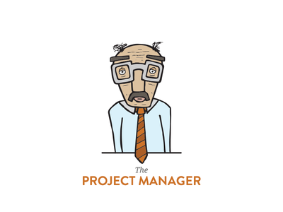 The Project Manager illustration old man project manager orange glasses concept