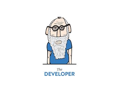 The Developer illustration old man developer blue glasses concept