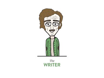 The Writer illustration old man writer green glasses concept