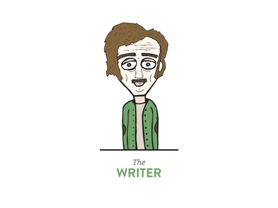 The Writer illustration old man writer green glasses concept