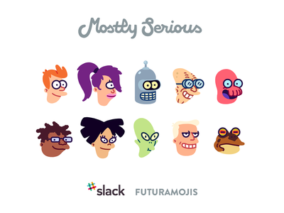 Futuramojis for Slack pack gumroad paperbeatsscissors illustration icon slack emoji futurama