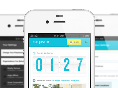 Clockster iphone app clockster angry milliner ui flip time tracking location blue yellow icon ios mobile