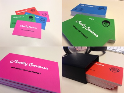Mostly Serious Business Cards mostly serious business cards blue green orange pink bright colorful playful photo paper moo futura bold custom type script logo illustrations layout agency k firm