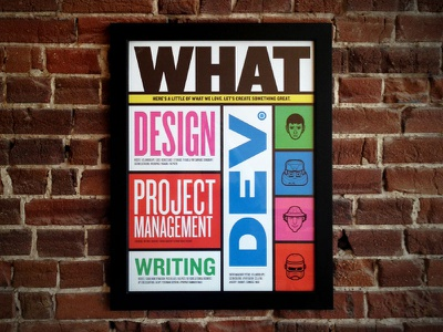 WHAT poster mostly serious design illustration blue green pink orange knockout type yellow frame wall hanging