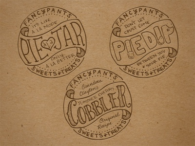 Fancypants Jar Labels pie jar labels hand-lettering hand drawn cobbler branding sweets packaging brown paper identity handmade homemade dessert dip