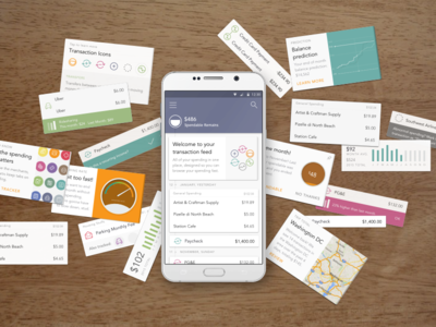 Cardfeed Confetti feed transaction timeline material android cards