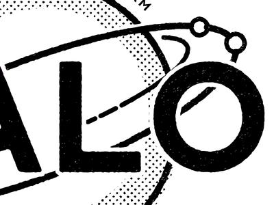 Halo Detail black and white print retro orbit stamp logo halo