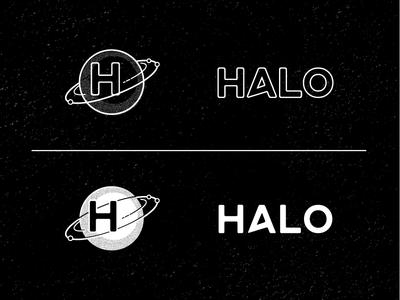 Halo Secondary Treatments black and white print retro orbit stamp logo halo