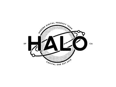 Halo black and white print retro orbit stamp logo halo