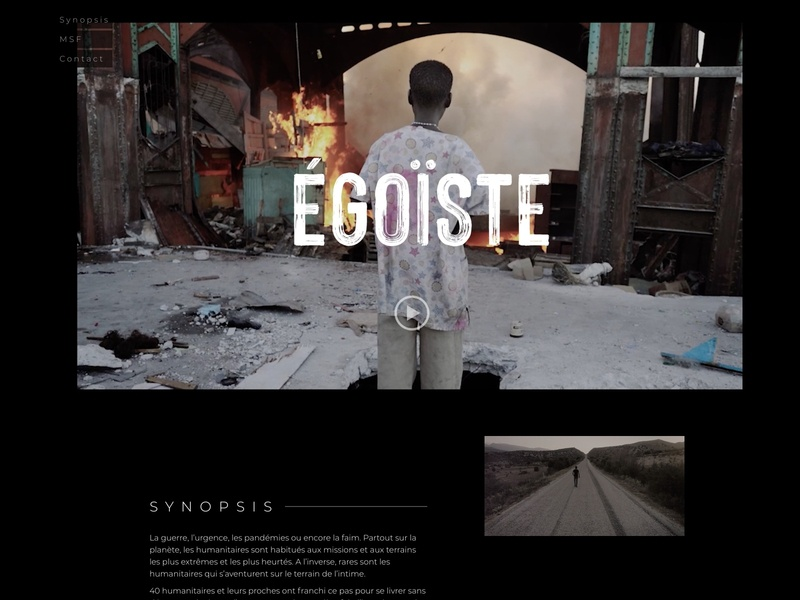 Égoïste landing page design web ux landing page ui