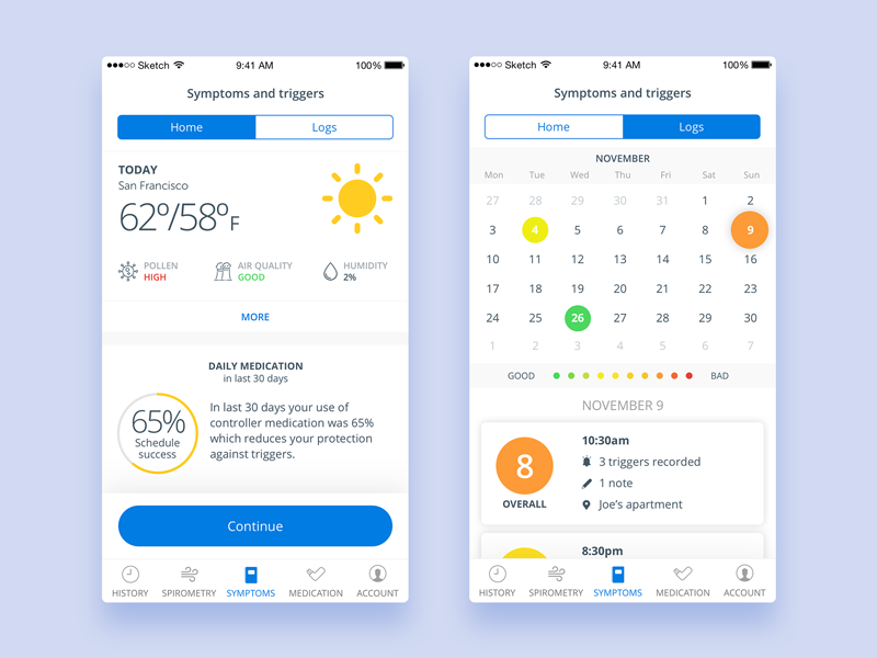 Health app for respiratory care health app ux ui mobile