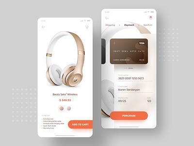 Product purchase screen uiuxdesign headphones paymentscreen checkout creditcard orange branding concept kfunkydesign design k-funky karen sardaryan dailyui 002 ui