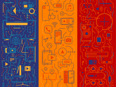Electronic device pattern strips lineart iconography pattern design tablets laptops apple devices mobile inspiration abstract futuristic device electric warm colors retro pattern illustration kfunkydesign k-funky karen sardaryan