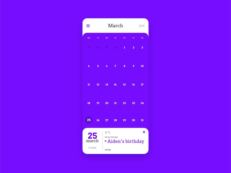 Samsung Calendar App in Purple Theme ux vector samsung calendar app mobile app figma design ui
