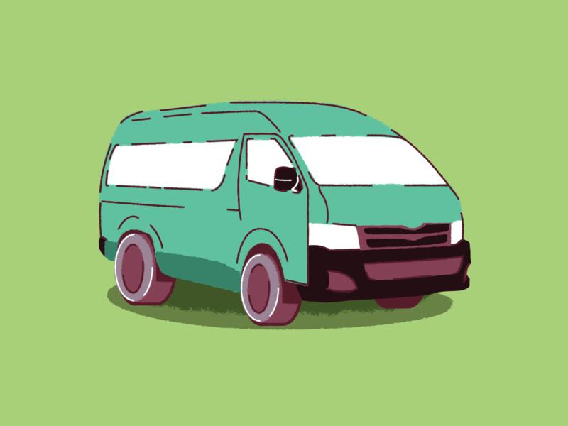 SA taxi gouche brush south africa taxi design flat vector illustration illustrator