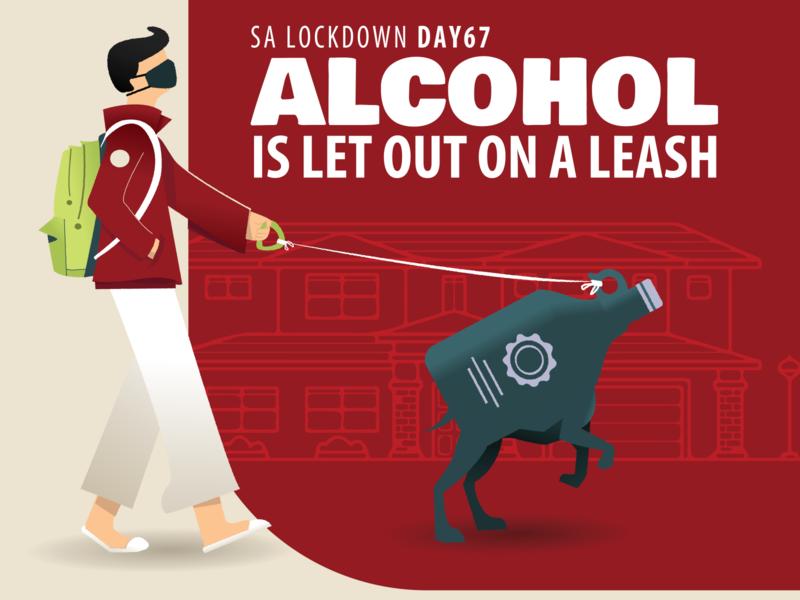 Alcohol Sales now open!! coronavirus flat vector alcohol south africa lockdown illustration illustrator