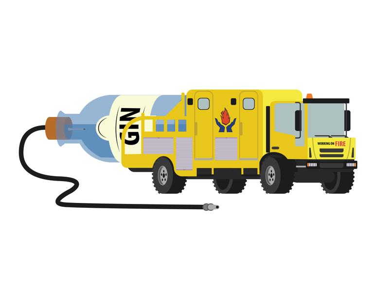Bushfire firetruck with some GIN on the back gin design flat firetruck branding vector illustrator illustration