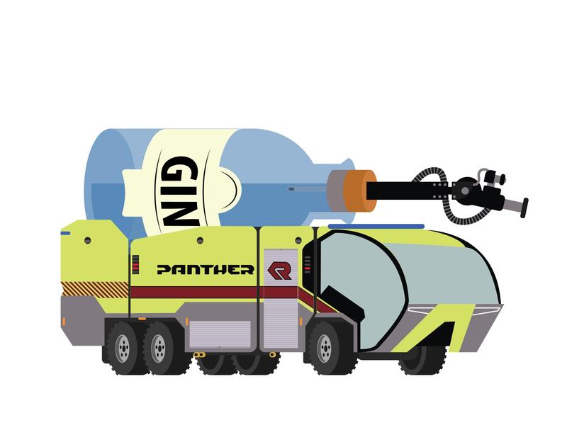 Rosenbauer Panther gin alcohol firetruck branding design flat vector illustrator illustration