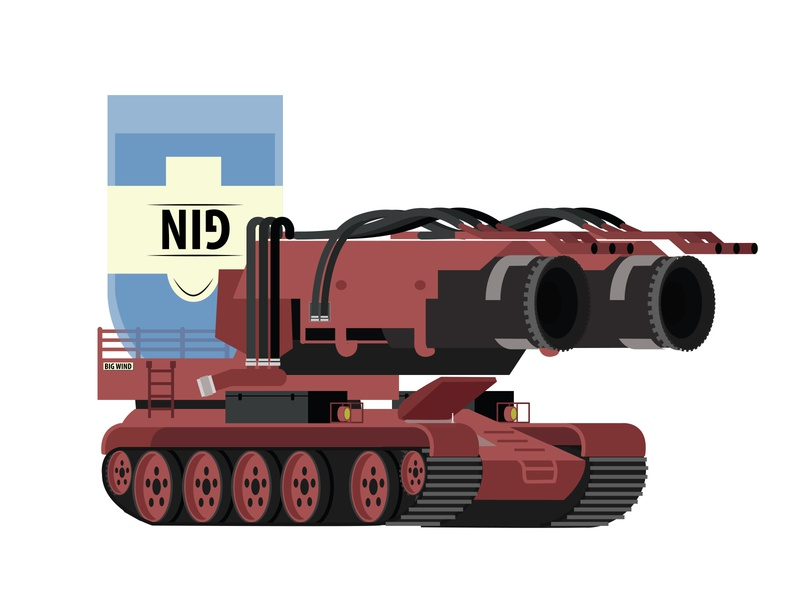 Revised the Big Wind gin design flat firetruck branding illustration vector illustrator