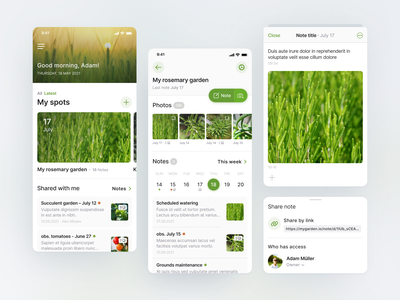 My Garden App light green nature add notes note home interface iphone ux ui plants growth concept ios app mobile agriculture garden ios app