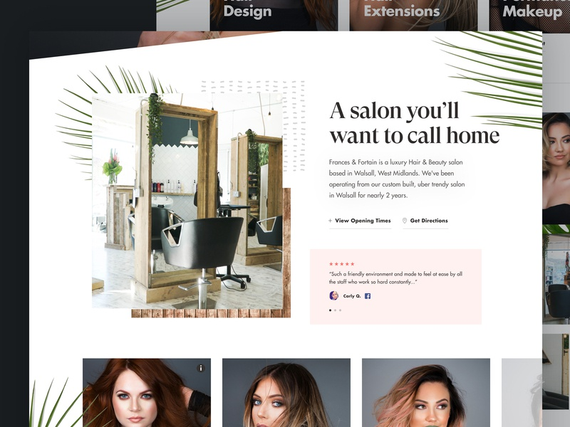 Salon Website Layout beauty website concept design website salon