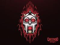 Gladiator Skull Mascot Logo