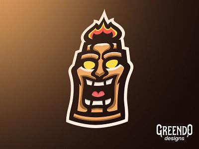 Tiki Mascot Logo smile happy mad angry wood art icon esports branding vector gaming design fire mascot logo hawaiian tiki mask tiki