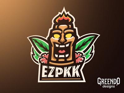 Ezpkk Tiki Mascot Logo design esport mad happy icon vector gaming hawaiian flower leaf mascot logo hawaii tiki mask tiki