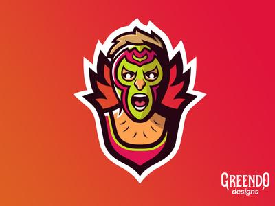 Mexican Wrestler Mascot Logo