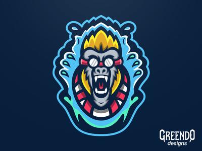 Diving Monkey Mascot Logo