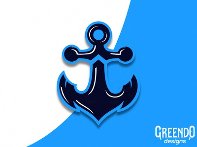 Anchor Mascot logo white blue icon ship ocean sea branding vector design illustration mascot logo