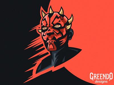 Darth Maul - Star Wars dark side character gaming clone wars starwars han solo master fanart art vector design illustration logo mascot darth maul star wars