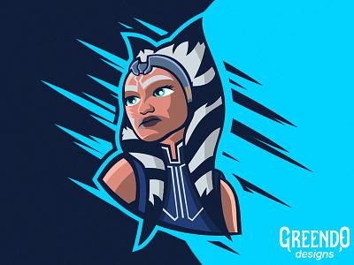 Ahsoka Tano - Star Wars gaming starwars fanart art master vector design illustration mascot logo asoka tano the clone wars star wars