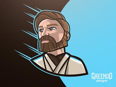 Obi-Wan Kenobi - StarWars white brown blue jedi character vector gaming design illustration mascot logo the clone wars star wars starwars
