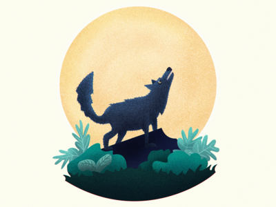 Howling grain howling wolf animal character design moon photoshop illustration howling wolf