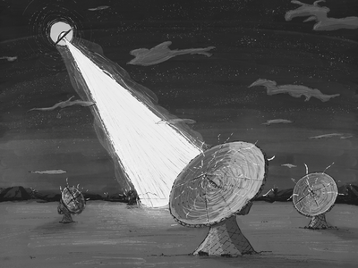 Inktober 2018 Day 17: Connect illustration light space connect radar ufo art drawing ink inktober