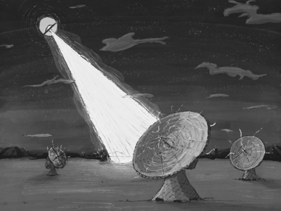 Inktober 2018 Day 17: Connect illustration light space connect radar ufo art drawing ink inktober