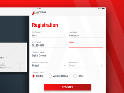 AddVentures – Register Form application ipad input form ux ui
