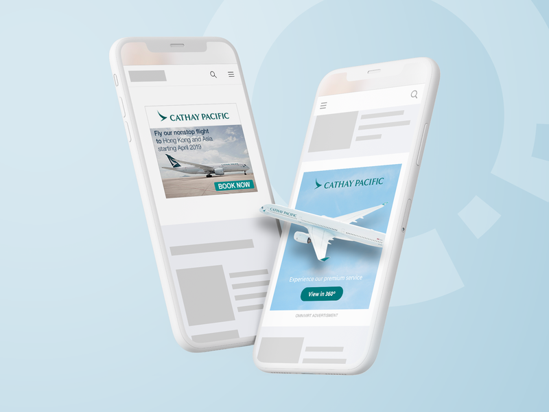 Visual concept of immersive ad vs flat ad illustration display ad omnivirt advertising design
