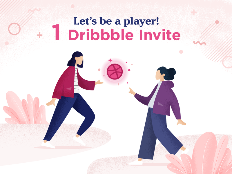 One Dribbble Invite illustration ball people giveaway draft day dribbble dribbble invite invite invitation
