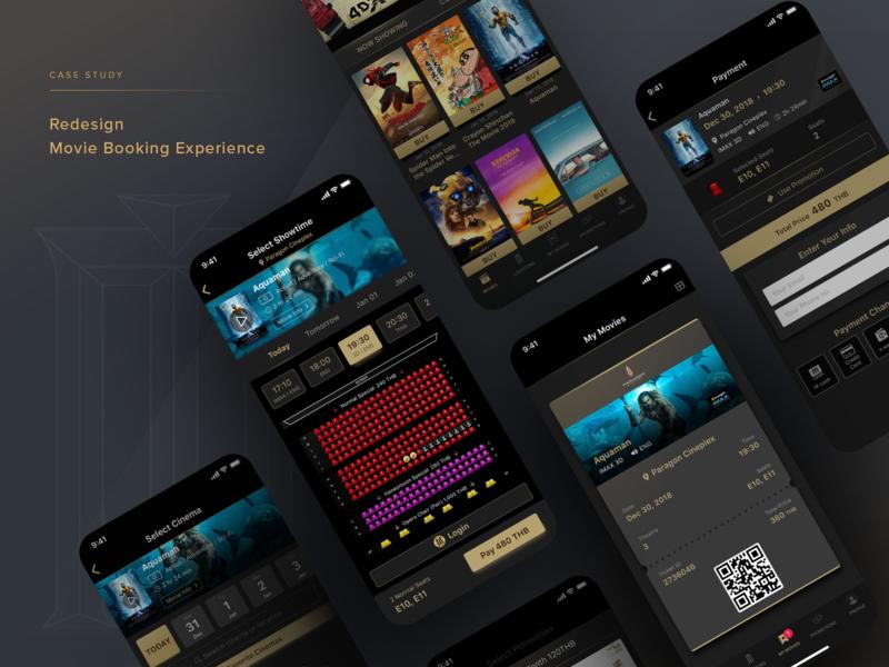 Redesign Movie Booking Experience branding ticket movie app mobile app design ui design ux design adobe xd ui