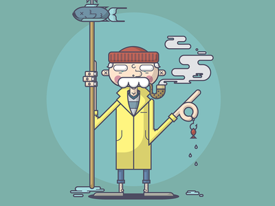 Big Fishin' illustration line art fisherman sailor fish spear pipe smoke raincoat water sea hook
