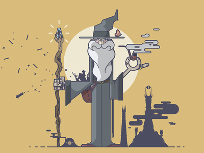 Gandalf illustration line art gandalf lord of the rings fireworks mordor isengard bag end pipe staff wizard beard