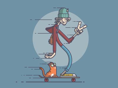 Long Board Cruisin' illustration line art skateboard skater skateboarder cat peace cruising dude