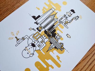 Signs of the Time – Printed! illustration line art philly philadelphia screenprint gold beer skyline