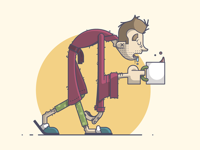 Mondays, amiright? illustration line art sleepy coffee monday sleepwalk slippers bathrobe bedhead