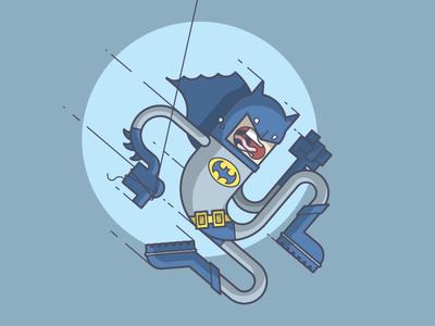Batman is scared of heights! dark knight swinging scared dc batman comics line art illustration