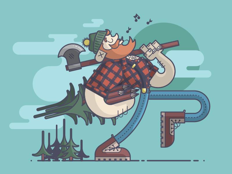 Paul Bunyan happy whistling axe trees lumberjack paul bunyan line art illustration