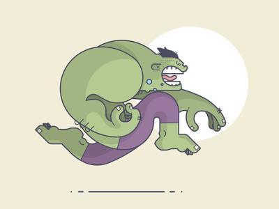 Hulk Run! avengers run bruce banner hulk marvel comic line art illustration