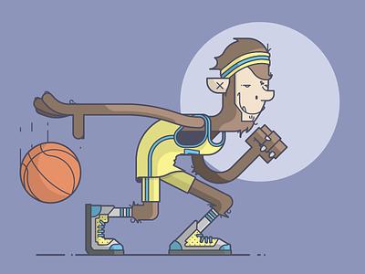 Teen Wolf smile wolf werewolf headband sweatband dribble basketball michael j fox teen wolf line art illustration